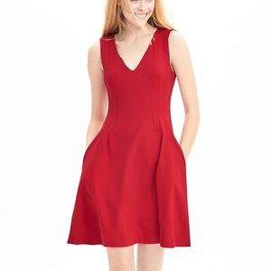 NWT Banana Republic fit and flare red dress